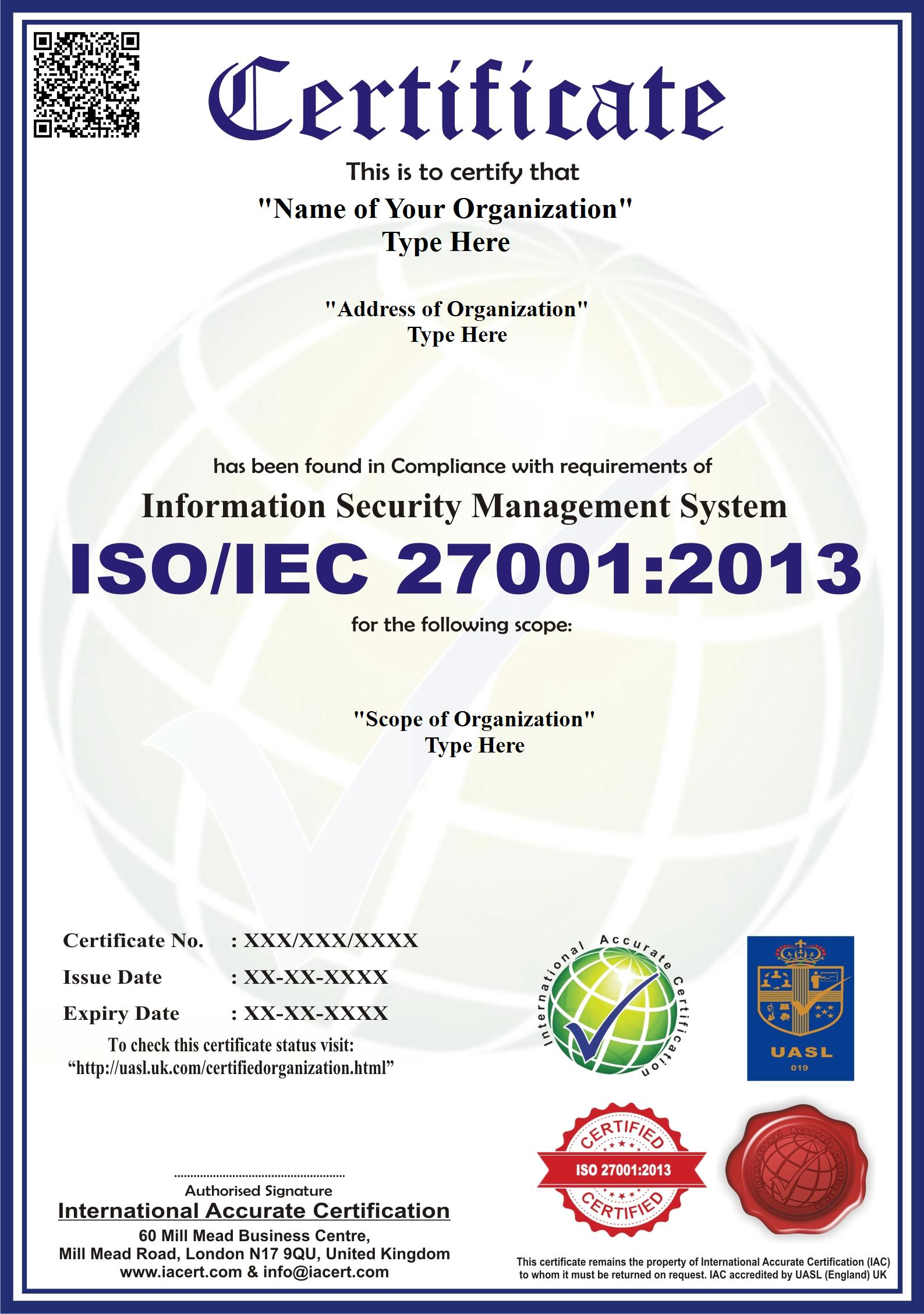 iso 27001 certification training in india